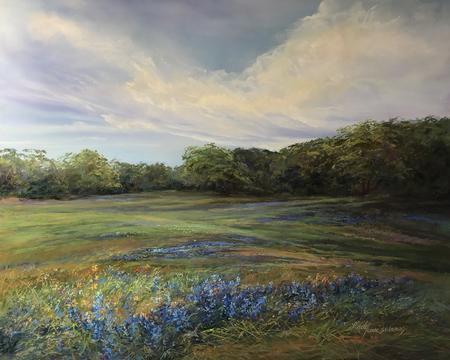 "Texas Blues, pastel landscape painting bluebonnets in Texas Hill Country a large 16"" x 20"" pastel study by Lindy Cook Severns, Old Spanish Trail Studio, Fort Davis TX"