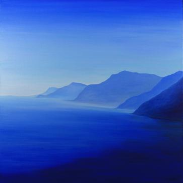Light Blue/Italian Coast. 60x60cm. Acrylic paint and varnish on canvas. Framed. Contemporary minimalist seascape in blue by Irish artist Orfhlaith Egan. Orfhlaith Egan Art Berlin. Private collection Annapolis, Maryland.