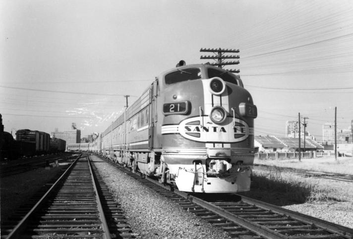 The Dallas section of the Texas Chief departing Dallas in 1956.