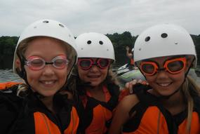 young children on a whitewater rafting trip