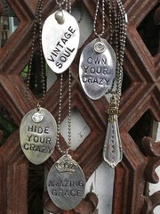 Vintage Sliver plate Hand Stamped Spoon/Spoon End Necklace (Single Line)