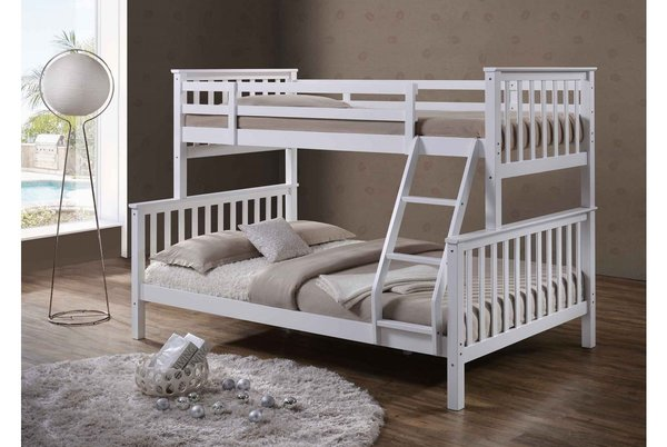 Oscar White Wooden Triple Sleeper Bed