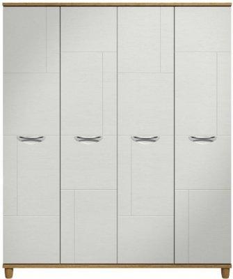 Moda Oak & white Wardrobe - 4 Doors