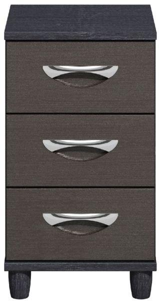 Moda Black Oak & Graphite Narrow Chest of Drawers - 3 Drawers