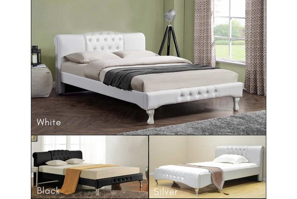 Knightsbridge Designer Bed Frame - White, Black Double or King Size