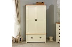 New Hampshire oak 2 Door 1 Drawer Wardrobe cream/oak or grey/oak