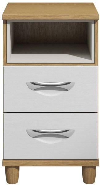 Moda Oak & white Bedside Cabinet - 2 Drawers