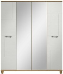 Moda Oak & white Wardrobe - 4 Doors With Central Mirrors