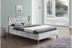 Sandringham Winged Bed Silver Crushed Velvet Fabric- Double or King Size