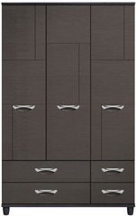 Moda Black Oak & Graphite Wardrobe - 3 Doors 4 Drawers