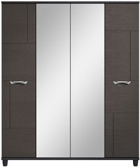 Moda Black Oak & Graphite Wardrobe - 4 Doors With Central Mirrors