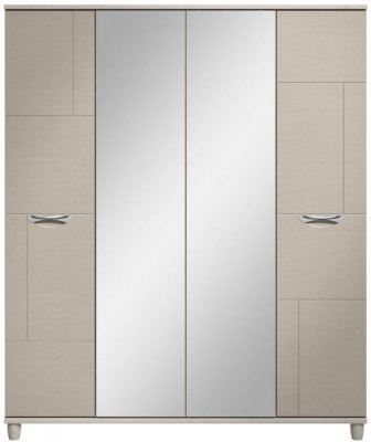 Moda elm & cashmere Wardrobe - 4 Doors With Central Mirrors