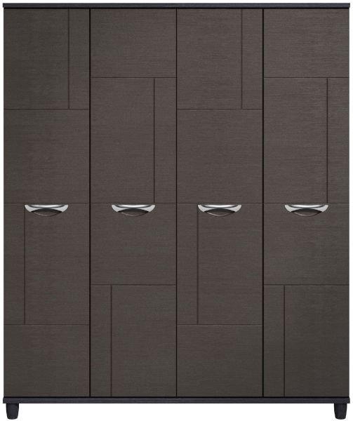 Moda Black Oak & Graphite Wardrobe - 4 Doors