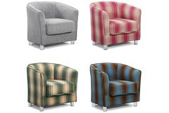 Vegas Fabric Upholstered Modern Tub Style Chair Grey or Tartan
