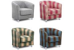 Vegas Fabric Upholstered Modern Tub Style Chair Grey or Tartan