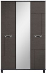 Moda black oak & graphite Wardrobe - 3 Doors With Central Mirror