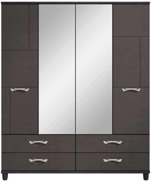 Moda Black Oak & Graphite Wardrobe - 4 Doors 4 Drawers With Central Mirrors