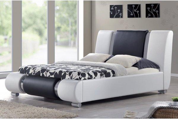 Sorrento Designer Bed Frame - White & Black With Chrome- Double or King Size