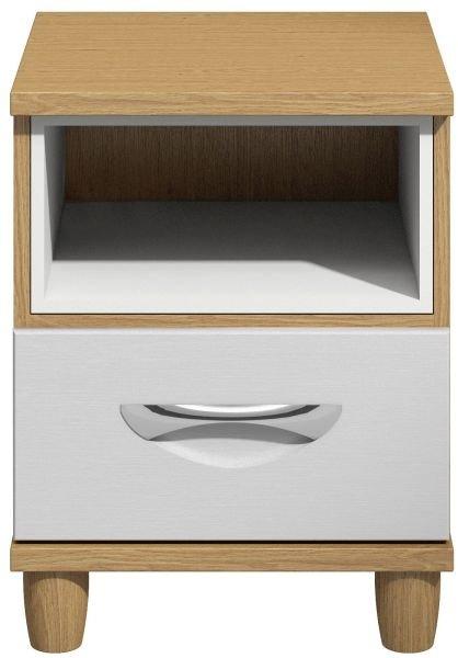 Moda Oak & white Bedside Cabinet - 1 Drawer