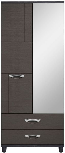 Moda Black Oak & Graphite Wardrobe - 2 Doors 2 Drawers With Mirror