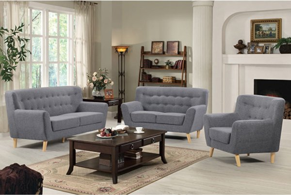 Lichfield Fabric 2 or 3 Seater Tub Sofa- Light Grey or Charcoal