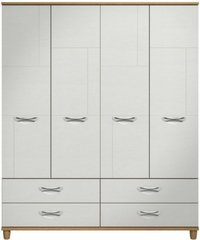 Moda Oak & white Wardrobe - 4 Doors 4 Drawers