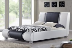 Sorrento Designer Bed Frame - White & Black With Chrome- Double or King Size