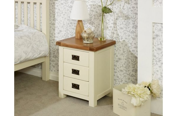 New Hampshire 3 Drawer Bedside cream/oak or grey/oak