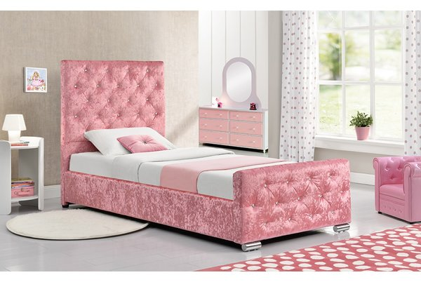 Beaumont Single Diamante Studded Pink Crushed Velvet Bed