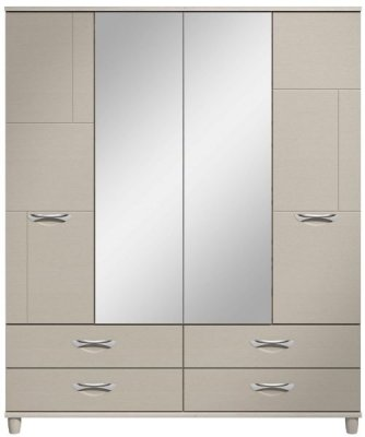 Moda elm & cashmere Wardrobe - 4 Doors 4 Drawers With Central Mirrors