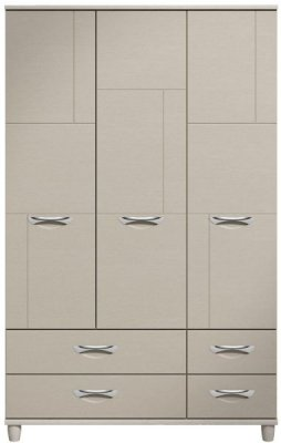Moda elm & cashmere Wardrobe - 3 Doors 4 Drawers