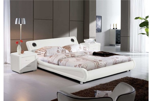Madrid Bluetooth Speakers Bed Frame - White King Size