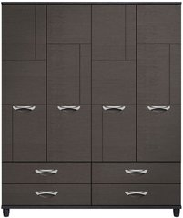 Moda Black Oak & Graphite Wardrobe - 4 Doors 4 Drawers