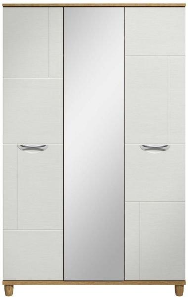 Moda oak & white Wardrobe - 3 Doors With Central Mirror