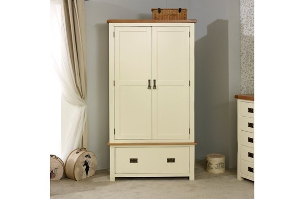 New Hampshire oak 2 Door 1 Drawer Wardrobe cream/oak or grey/oak