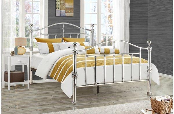 victoria bed frame siler/black nickel