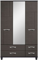 Moda Black Oak & Graphite Wardrobe - 3 Doors 4 Drawers With Central Mirror