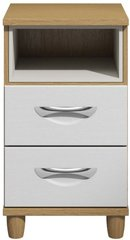 Moda Oak & white Bedside Cabinet - 2 Drawers