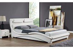 Valletta Designer Bed - White or Black- Double or King Size