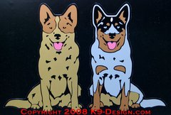 Australian Cattle Dog Sitting Large Magnet - Choose Red or Blue Dog