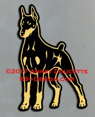 Doberman Pinscher Stand Front Magnet - Choose Color, Ears & Tail