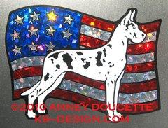 Great Dane on USA American Flag Magnet - Choose Color
