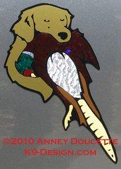 Golden Retriever Headstudy Holding Pheasant Magnet