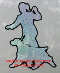 English Springer Spaniel Gaiting With Handler Silhouette Magnet - Choose Hologram Color