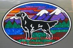 """Flat-Coated Retriever """"Colorado"""" XL Oval Magnet - Black or Liver Dog"""