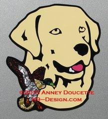 "Labrador Retriever Headstudy with Mallard Duck 8"" Magnet - Choose Color"