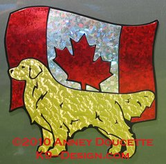 Golden Retriever Standing on Canada Flag Magnet