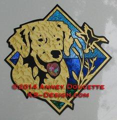 "Golden Retriever Duck / Hunting Diamond 8"" Magnet"