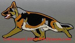 German Shepherd Dog Trotting Multicolor Large Magnet