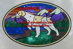 "Brittany Pointing / Hunting ""Colorado"" XL Oval Magnet"
